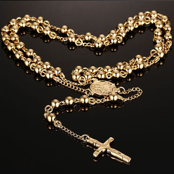 Gold Plated Rosary Beads Long Necklace Cross Pendant Stainless Steel Chain For Man Fashion Jewelry NC-056