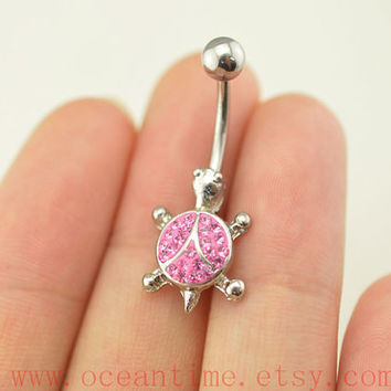 belly button jewelry,glitter turtle belly button rings,pink tortoise navel ring,piercing belly ring,friendship gift