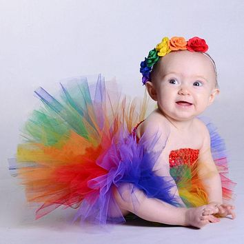 Princess Baby Rainbow Couture Tutu Dress with Flower Headband Halloween Birthday Costume Girls Photo Props TS125