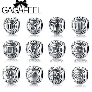 GAGAFEEL 925 Sterling Silver Star Sign Charms Beads Fit Pandora Bracelets Twelve Constellations Beads for DIY Jewelry Making
