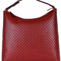 Gucci Women's Micro GG Guccissima Leather Purse Hobo Handbag (449732/Red)