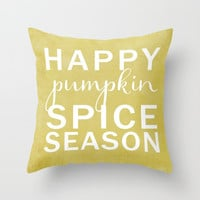 happy pumpkin spice season-yellow Throw Pillow by Sylvia Cook Photography