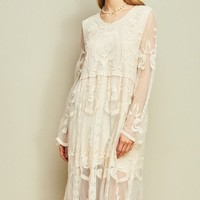 Roxy Ivory Lace Midi Dress