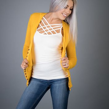 Classic Snap Button Cardigan in MUSTARD (S-XL)