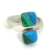 Inlaid Turquoise and Malachite Ring