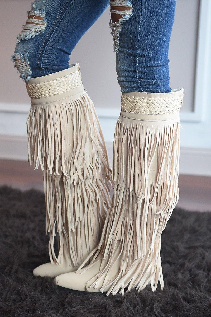 Do it Dolly Style Fringe Boots from The Pulse Boutique  1aaa89513