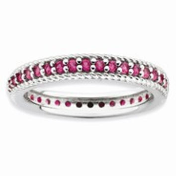 Sterling Silver Polished Ruby Eternity Ring