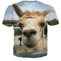 """Llama At 'Em"" Crew Neck T-Shirt"