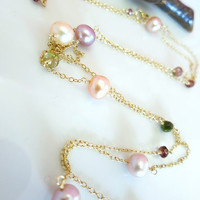 Romantic rainbow tourmaline pink and peach pearl rosary gold filled necklace