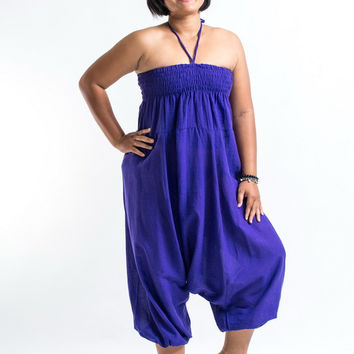 Plus Size Solid Purple Jumpsuit Harem Pants