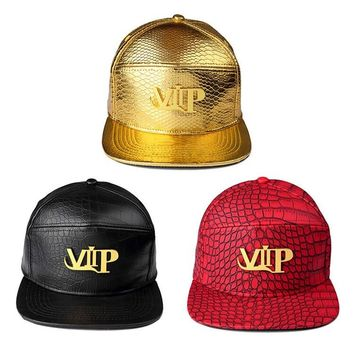 Luxury PU Leather hip hop hats Diamond Crocodile Grain snapback Golden VIP Logo DJ baseball caps men women sport casquette
