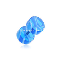 A Pair of Marble Swirl UV Acrylic Fake Gauge Plug Earring (Blue/White)
