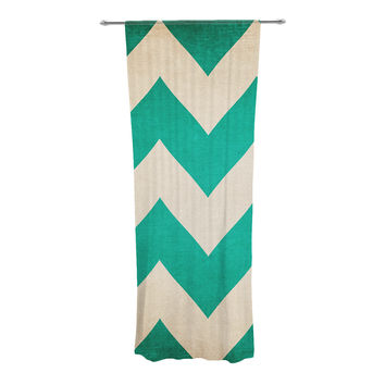 "Catherine McDonald ""2013"" Teal Chevron Decorative Sheer Curtain"