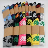 Recommend !! men socks cotton 5pairs/lot men's Breathable weed socks autumn-winter Hip Hop Cotton Skateboard Sock