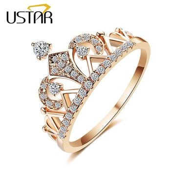 Princess Crown Rings for women with AAA cubic zirconia micro pave setting