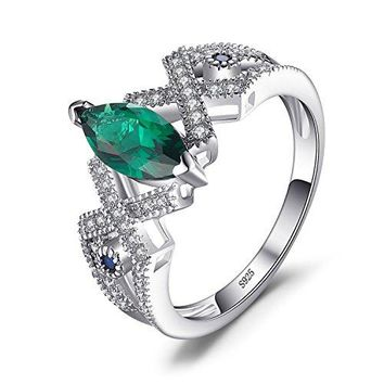 JewelryPalace Marquise 25ct Nano Russian Simulated Emerald Statement Ring 925 Sterling Silver