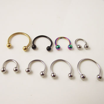 2pcs  Free Shipping 1.2mm 16G Ball Circulars Horseshoes Titanium Ball Horseshoe Nose Ring  Piercing Body Jewelry