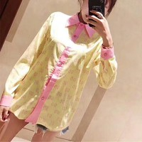 """""""Gucci"""" Fashion Personality Multicolor Letter Print Lapel Shirt Women Long Sleeve Cardigan Tops"""