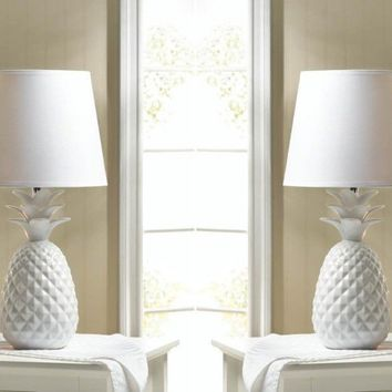 2 White Pineapple Table Lamps