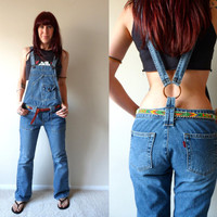 Levi's Red Tab Denim Overalls Flare Jeans Open Back Suspenders Women