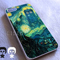 Starry Night Van Gogh Tardis Police Call Box Dr Who for Iphone 4/4S case, Iphone 5/5C/5S case, Samsung S3/S4 case cover in Liezh
