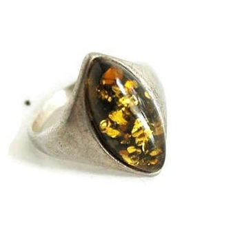 Sterling Silver Ring with Amber Cabochon, Amber Ring Size 6, Modernist Design, Silver Jewelry, Amber Jewelry, Metaphysical Jewelry