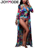 JOYMODE 2017 Sexy One Piece+Beach Cover Up Summer Swimsuit Floral Paint Bathing Suits Swimming Matching Robe Swimwear Women  -C