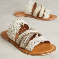 Jasper & Jeera Floretta Sandals in White Size:
