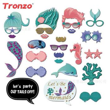 Tronzo 26Pcs Mermaid Photo Booth Props DIY Paper Fifsh PhotoBooth Girl Birthday Themed Party Decoration For Kids Favor Gift