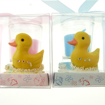 Baby Shower Party Favor - Boy or Girl Candle Votive Rubber Ducky, Light Pink