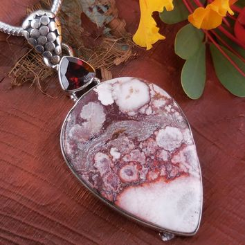 Crazy Horse Agate & Garnet Sterling Silver Pendant/Necklace
