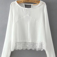 White Long Sleeve Back Cut-Out Top with Lace