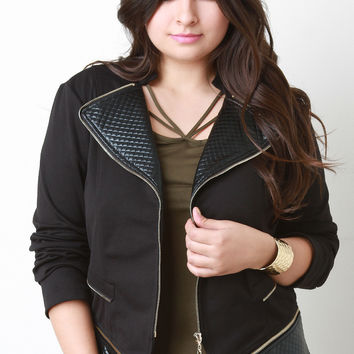 Quilted Faux Leather Trim Zipper Jacket