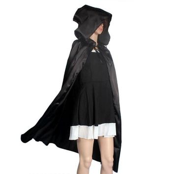 ONETOW JECKSION Hooded Cloak Coat,Black Red Wicca Robe Medieval Cape Shawl Halloween Party S/M/L/XL Plus Size #LWN