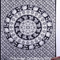 Indian Elephant Tapestry Wall Hanging Mandala Throw Twin Hippie Bedspread Ethnic