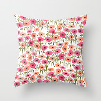 Poppies Throw Pillow by Lucy Helena
