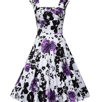 Streetstyle  Casual Square Neck Designed Floral Printed Plus Size Flared Dress