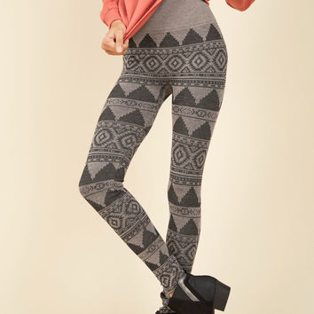 Heed Your Warming Fleece-Lined Leggings in Tan Geo | Mod Retro Vintage Pants | ModCloth.com