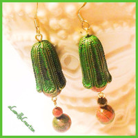 Green bell and Unakite dangle earrings Women's genuine unakite healing stone dangle earrings