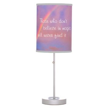 """Magic"" quote rainbow sunrise photo table lamp"