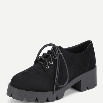 Lace Up Chunky Platform Wedges -SheIn(Sheinside)