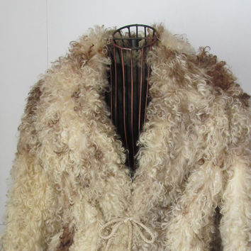 Cream and Toffee Genuine Curly Mongolian Lamb Fur Coat Mongolian Lambs Wool Coat Curly Fur Jacket
