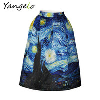 New 2016  Vintage Van Gogh Starry Sky Oil Painting 3D Digital Print High Waist Skirt Rockabilly Tutu Retro Puff Skirt