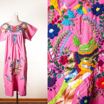 Vintage Mexican Dress | 70s Dress Embroidered Festival Dress Oaxacan Cotton Ethnic Summer Dress Boho Peasant Dress Gypsy Hippie Bird Print