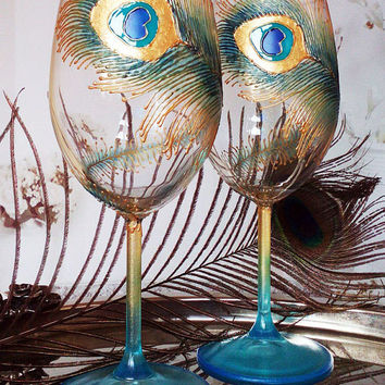 SET of 2 Hand Painted wine glasses Peacock  theme in turquoise, blue and gold color