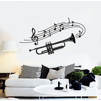 Vinyl Wall Decal Trumpet Musical Instrument Music Notes Stickers Mural (g724)