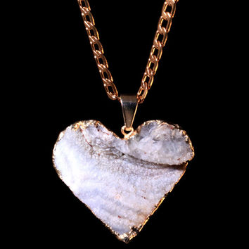 *Aether79-35 Chalcedony Druzy Heart on Curb