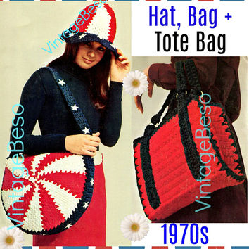 3 Patterns Patriotic 1970s Vintage Crochet Pattern Hat Cap Bag Purse Tote Briefcase Crochet Great for Beginners Digital Pattern
