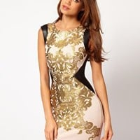 Lipsy Foil Printed Bodycon Dress at asos.com