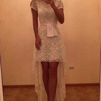 Lace Short Sleeves Low High Short Dress